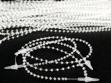 批发1000条/包透明珍珠子母扣珠带珠链吊牌绳手穿针圆珠形胶针
