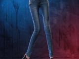2014新款高腰排扣铅笔裤 背带牛仔裤 女 修身显瘦小脚裤 潮女