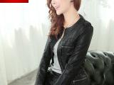 2014款秋冬新款女装批发韩版 黑色圆领长袖 优质PU皮衣短款