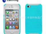 批发可插卡手机壳 iphone4s/5防水硅胶软套 PC硅胶软硬
