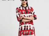 欧洲站2015春季新品 新款真丝卡通图案印花A字连衣裙七分袖 M