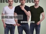 2014新款v领短袖 韩版氨纶/莱卡t恤 厂家直销 批发 淘宝供