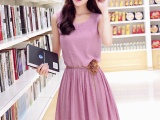 2015夏季新款棉麻连衣裙女装韩版修身中长款复古无袖背心裙