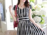 2014新款 夏装 女装韩版亚麻条纹背心裙女大码显瘦短袖棉麻连衣