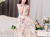 韩国东大门夏装新款韩版印花长款无袖连衣裙长裙  夏季