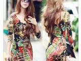 2013韩版最新性感花色妩媚V领打底裙 包臀瘦身长袖连衣裙