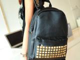 时尚男女铆钉双肩包韩版黑色潮酷时尚双背书包双肩背欧美女包包邮