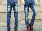 2013新款韩版修身男士小直筒弹力牛仔裤 男 个性拉链装饰牛仔裤潮