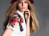 2015夏装新款衬衣女显瘦拼接欧根纱短袖翻领刺绣花潮 女式衬衫订