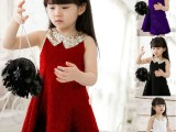 2014童装新款夏装韩版儿童连衣裙女童翻领蕾丝背心公主裙一件代发