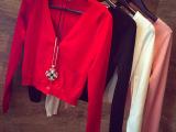 春新款韩版女装针织衫女短款 修身显瘦毛衣外套V领长袖开衫小外套