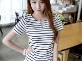 2015新款女装夏学生少女上衣修身黑白条纹纯棉打底衫V领短袖t恤