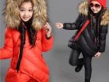 2015新款童装新款 中大儿童加厚 大毛领斜拉链女童棉衣两件套套