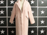 潮杂志高端韩版女士宽松纯色长款加厚夹棉毛呢子羊绒粉色大衣外套