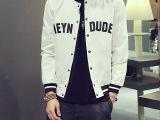 2015秋季新款男式夹克日系字母印花修身全棉棒球衫男士夹克外套