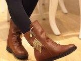 2014新款低跟金属链子单靴平底马丁靴韩版短靴圆头女靴子女鞋批发