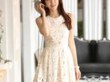 9835#春季新款韩版修身无袖背心淑女百搭白色蕾丝连衣裙