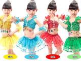 六一儿童表演服舞蹈裙 演出服装女童现代亮片带手腕拉丁舞裙纱裙