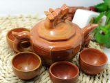 【康泰莱批发】天然正品泗滨红砭石龙头茶壶茶具套装 保健养生