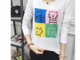 女装春季韩版潮新款长袖t恤女修身百搭印花打底衫上衣女