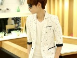 2014男韩版潮中袖小西装修身七分袖短袖青少年西装男休闲西服外套