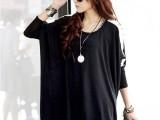 日韩大码宽松女装T恤韩国显瘦款蝙蝠衫