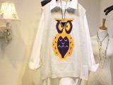 批发实拍针织羊毛衣女冬背心韩版中长款女猫头鹰套头休闲毛衣 女