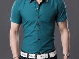 2014潮流时尚绝对高端 商务休闲纯色短袖衬衫.白色黑色蓝色 批