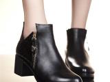 2014秋季新款红蜻蜓深口女鞋 粗跟真皮中跟女式皮鞋 厂家直销批