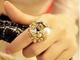 韩国明星-同款玫瑰花朵珍珠开口戒