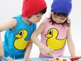 韩版纯棉背心可爱小鸭子糖果色儿童套装 可开档XTZ027