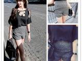 2015夏季新款女装韩国热销款麻灰色显瘦女式西装高腰短裤潮