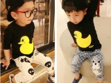 2014春款童装 韩版女童男童儿童宝宝可爱小黄鸭长袖T恤中性款打