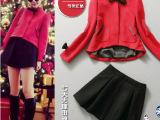 2014初春新款女装韩版小香风蝴蝶结红色上衣+混纺呢半身裙套装