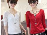 2014新款韩版秋季女装 品牌时尚修身上衣女 纯色v领雪纺长袖t
