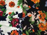 树皮皱印花服装用布 花朵印花布 高级时装提花化纤外套面料现货