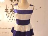 欧美复古方领仿缎条纹拼色背心连衣裙