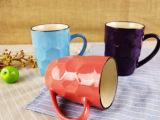 外贸正单陶瓷 400ml外色内白浮雕鼓形杯 礼品马克杯 按箱批发