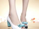 2014新款真皮凉鞋女 红蜻蜓漆皮鱼嘴凉鞋 夏季高跟单鞋 批发