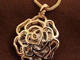 锆石镂空金色玫瑰花长款 女项链 毛衣链 韩版饰品淘宝格子铺货源