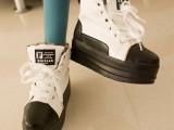欧美秋冬季新款加棉加厚雪地单鞋内增高圆头坡跟高帮休闲鞋女鞋子