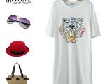 C韩版长款打底衫 短袖街头风连衣裙 彩色老虎头宽松长T恤