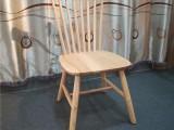 北欧简约实木餐椅4S店餐厅家用餐桌椅实木靠背椅橡胶木温莎椅