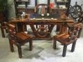 菏泽市老船木茶桌椅子仿古茶台实木沙发茶几餐桌办公桌家具博古架