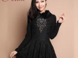 2013新款女装 高领 气质打底裙 加绒加厚 长袖连衣裙 秋冬