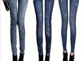 促销印花仿牛仔九分裤 韩版高弹牛仔裤打底裤 显瘦修身裤子批发