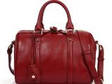 2012新款小辣椒波士顿包真皮复古酒红色牛皮女包 潮 女手提斜跨