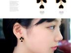 韩国韩版高档心形四叶草饰品 小香黑色cc耳钉耳环批发 802357