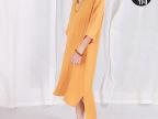 2014夏装新款 原创简约宽松大码棉麻女装连衣裙复古中袖棉麻长袍