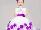 新款欧美童装女白色拼接婚纱礼服裙 公主连衣裙子花瓣裙 厂家直销